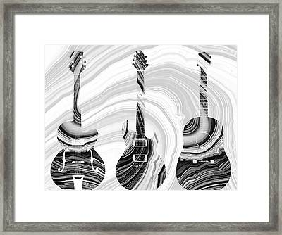 Marbled Music Art - Three Guitars - Sharon Cummings Framed Print by Sharon Cummings