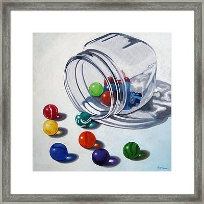 Marbles And Glass Jar Still Life Painting Framed Print by Linda Apple