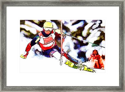 Marcel Hirscher Skiing Framed Print by Lanjee Chee