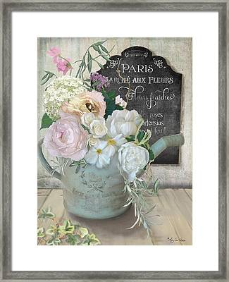 Marche Paris Fleur Vintage Watering Can With Peonies Framed Print by Audrey Jeanne Roberts