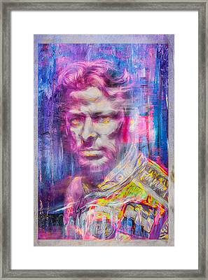 Marco Andretti Digitally Painted Portrait Framed Print by David Haskett