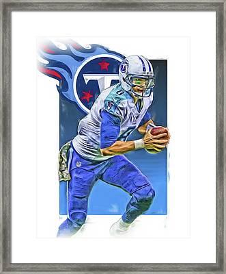 Marcus Mariota Tennessee Titans Oil Art 2 Framed Print by Joe Hamilton