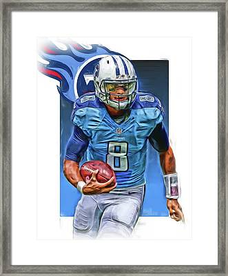 Marcus Mariota Tennessee Titans Oil Art Framed Print by Joe Hamilton