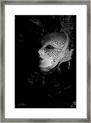 Mardi Gras Mask  B-w Framed Print by Christopher Holmes
