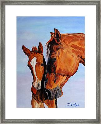 Mare And Foal Framed Print by Jana Goode