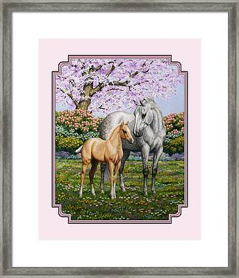 Mare And Foal Pillow Pink Framed Print by Crista Forest
