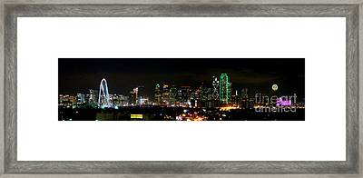 Margaret Hunt Hill Bridge And Dallas Skyline Framed Print by Wendy Emel