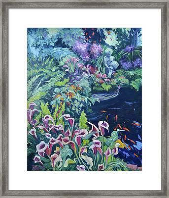 Maria's Koi Pond Framed Print by Cindy Friedlander