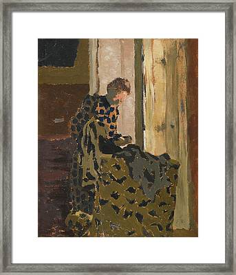 Marie Brossant Un Vetement Framed Print by Edouard Vuillard