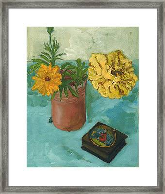 Marigolds And June Bugs Framed Print by Laura Wilson