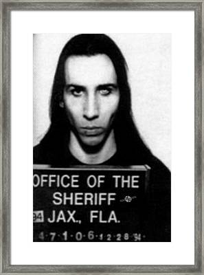 Marilyn Manson Mug Shot Vertical Framed Print by Tony Rubino