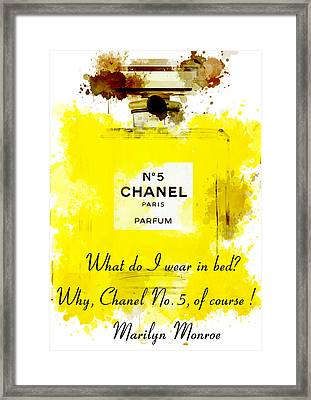 Marilyn Monroe Quotes 5 About Chanel No. 5  Framed Print by Diana Van