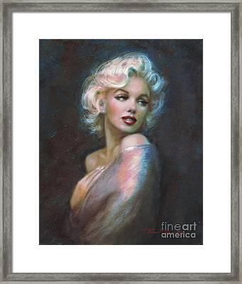 Marilyn Romantic Ww Dark Blue Framed Print by Theo Danella