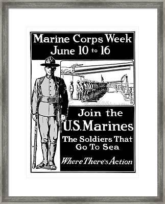 Marine Corps Week - Ww1  Framed Print by War Is Hell Store