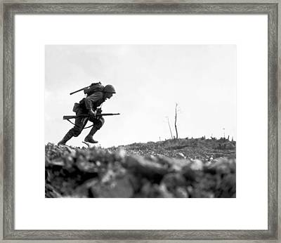 Marine Dash On Okinawa Framed Print by War Is Hell Store