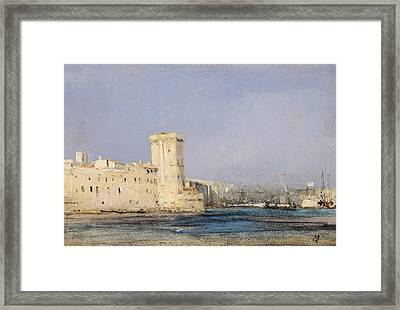 Marine Fortress Framed Print by Louis Eugene Gabriel Isabey