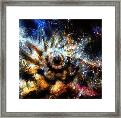 Marine Sea Shell . Painting Collage With Abstract Color Backgrou Framed Print by Jozef Klopacka