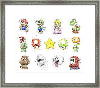 Mario Characters In Watercolor Framed Print by Olga Shvartsur