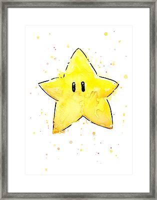 Mario Invincibility Star Watercolor Framed Print by Olga Shvartsur