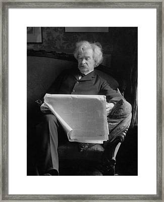 Mark Twain - American Author And Humorist Framed Print by War Is Hell Store
