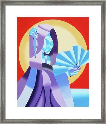 Mark Webster - Abstract Futurist Geisha Framed Print by Mark Webster