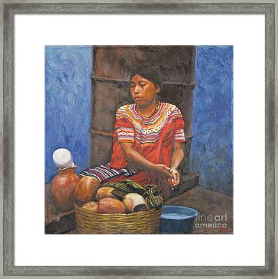 Market Girl Selling Atole Framed Print by Judith Zur