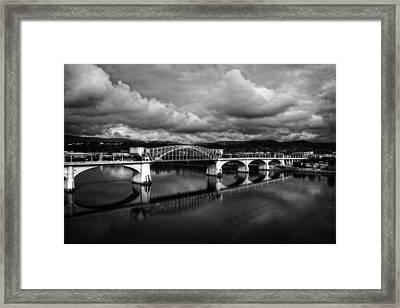 Market Street Bridge In Black And White Framed Print by Greg Mimbs