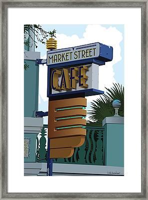 Market Street Cafe Framed Print by Bill Dussinger