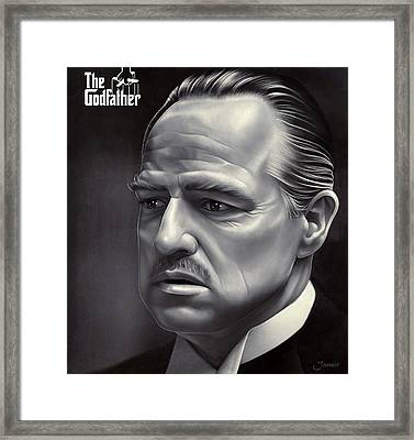 Marlon Brando Godfather Painting In Hd Framed Print by Jovemini ART