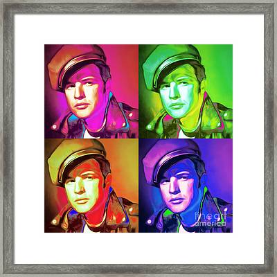 Marlon Brando The Wild One 20160116 Square Four Framed Print by Wingsdomain Art and Photography