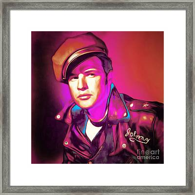 Marlon Brando The Wild One 20160116 Square Framed Print by Wingsdomain Art and Photography