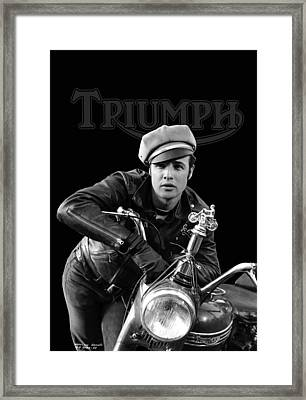 Marlon Brando Triumph Framed Print by Mark Rogan