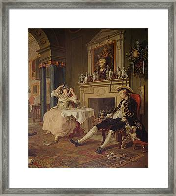 Marriage A La Mode II The Tete A Tete Framed Print by William Hogarth