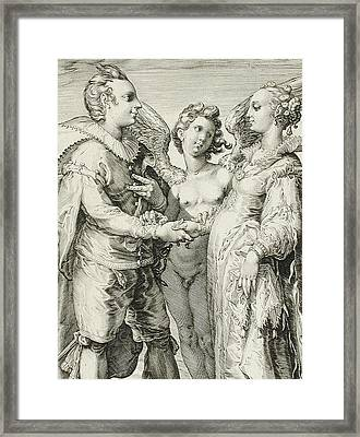 Marriage For Pleasure Framed Print by Jan Saenredam