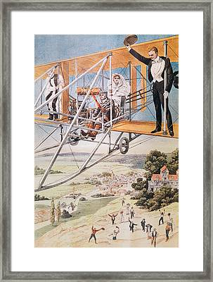 Marriage On An Airplane Framed Print by French School