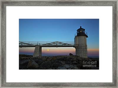 Marshall Point Lighthouse With Full Moon Framed Print by Diane Diederich