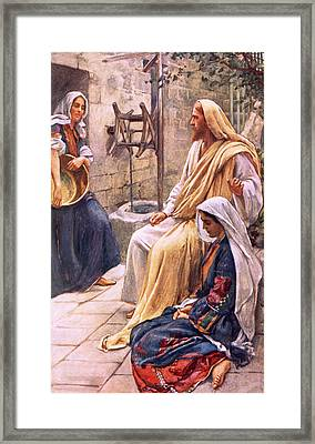 Martha And Mary Framed Print by Harold Copping