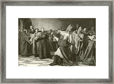 Martin Luther Before The Council Of Worms  Framed Print by English School
