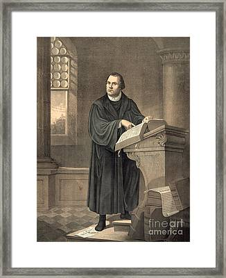 Martin Luther In His Study Framed Print by American School
