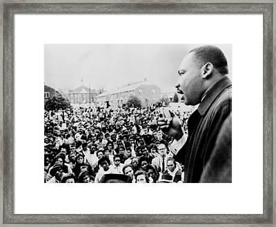 Martin Luther King Addresses Selma Framed Print by Everett