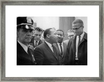 Martin Luther King Jnr And Malcolm X Framed Print by American School