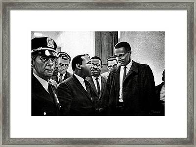 Martin Luther King Jr. Meets Malcolm X Painting In Hd Framed Print by Jovemini ART