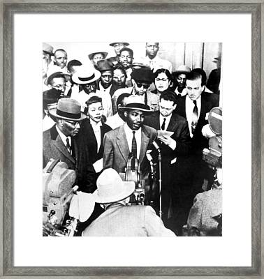 Martin Luther King, Jr. Speaks Framed Print by Everett