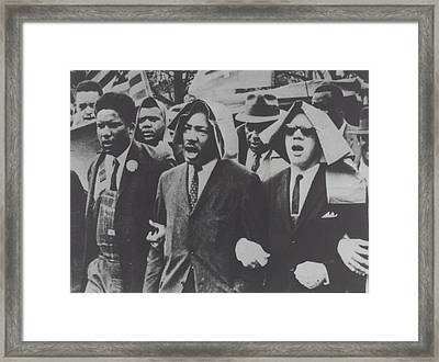 Martin Luther King Taking Part In A Civil Rights Protest March, Montgomery, Alabama Framed Print by American School