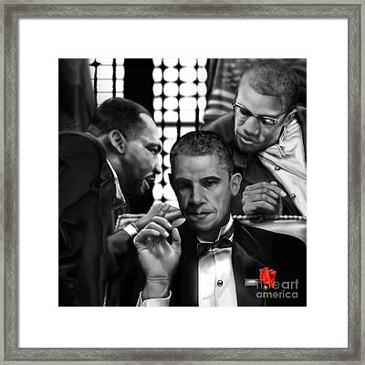 Martin Malcolm Barack And The Red Rose Framed Print by Reggie Duffie