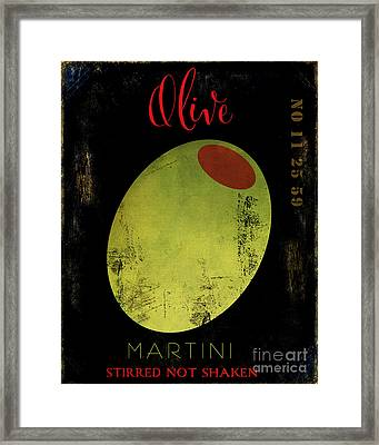 Martini Olive Framed Print by Mindy Sommers