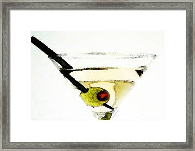 Martini With Green Olive Framed Print by Sharon Cummings