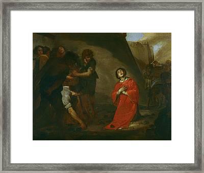 Martyrdom Of St Stephen Framed Print by Bernardo Cavallino
