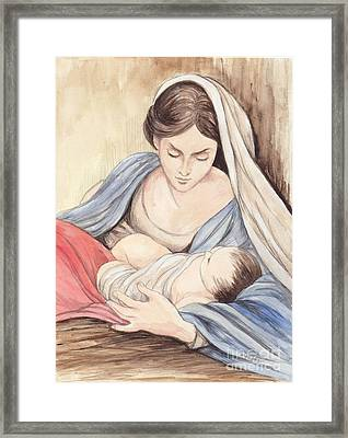 Mary And Child Framed Print by Morgan Fitzsimons