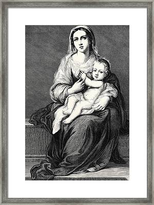Mary With The Child Jesus Framed Print by German School